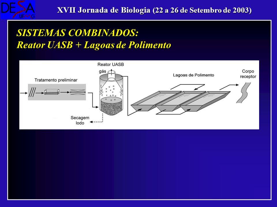 XVII Jornada de Biologia (22 a 26 de Setembro de 2003) SISTEMAS COMBINADOS: Reator UASB + Lagoas de Polimento