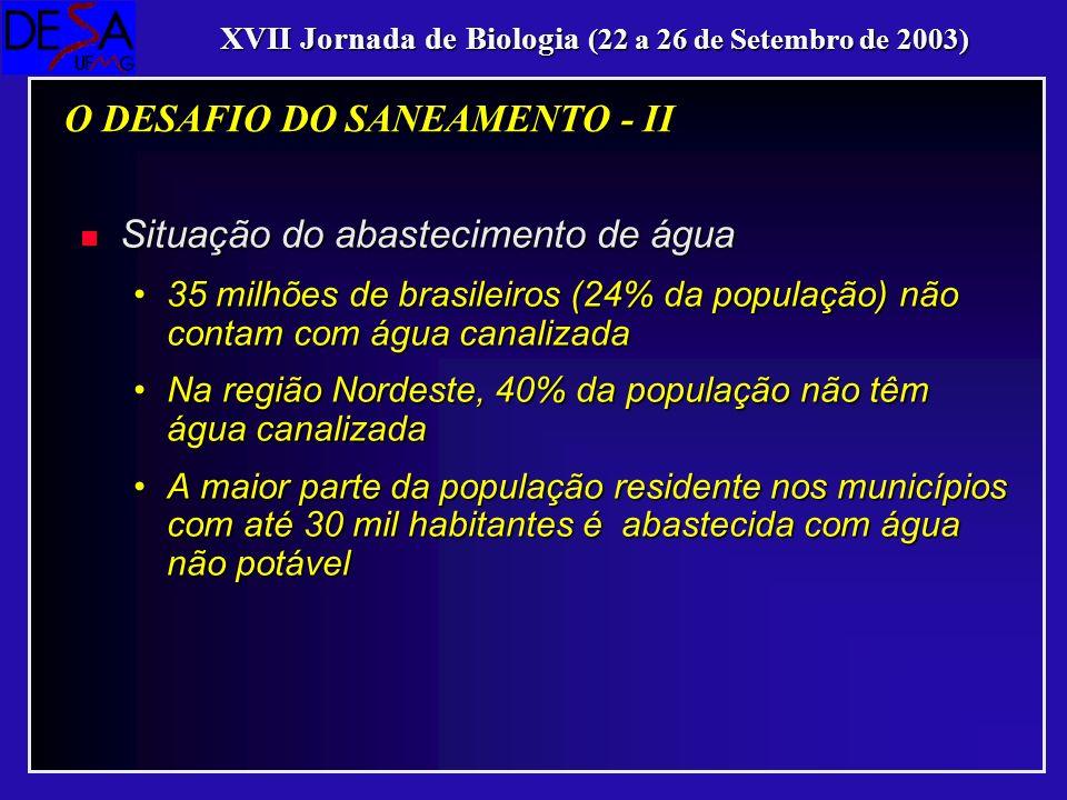 n Situação do esgotamento sanitário 70 milhões de brasileiros (48% da população) não dispõem de serviços adequados de esgotamento sanitário, sendo que em 85% dos casos os esgotos são lançados diretamente nos rios70 milhões de brasileiros (48% da população) não dispõem de serviços adequados de esgotamento sanitário, sendo que em 85% dos casos os esgotos são lançados diretamente nos rios Na região Nordeste, 77% da população não têm redes de esgotos nem fossas sépticasNa região Nordeste, 77% da população não têm redes de esgotos nem fossas sépticas Na região Norte, 93% dos municípios não possuem nem o serviço de coleta de esgotosNa região Norte, 93% dos municípios não possuem nem o serviço de coleta de esgotos Apenas 20% dos municípios tratam os esgotos geradosApenas 20% dos municípios tratam os esgotos gerados XVII Jornada de Biologia (22 a 26 de Setembro de 2003) O DESAFIO DO SANEAMENTO - II