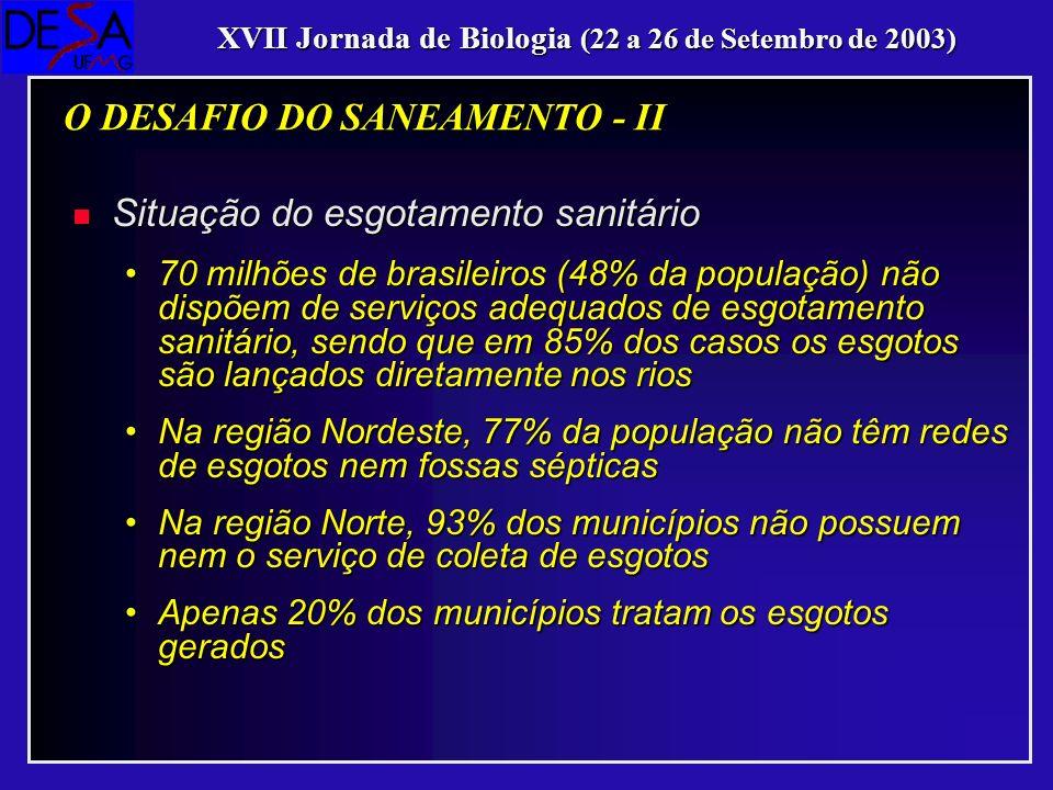 n Situação do esgotamento sanitário 70 milhões de brasileiros (48% da população) não dispõem de serviços adequados de esgotamento sanitário, sendo que