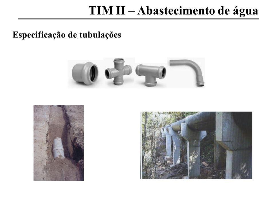 TIM II – Abastecimento de água Especificação de tubulações