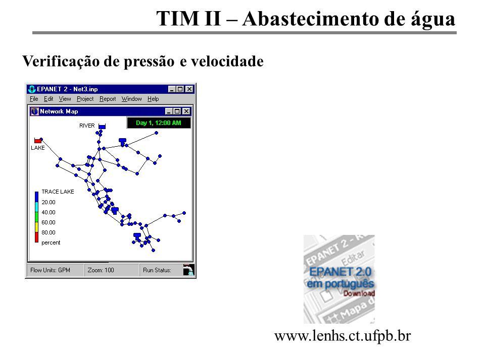 TIM II – Abastecimento de água Verificação de pressão e velocidade www.lenhs.ct.ufpb.br