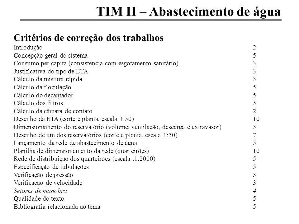 TIM II – Abastecimento de água Critérios de correção dos trabalhos Introdução2 Concepção geral do sistema5 Consumo per capita (consistência com esgota