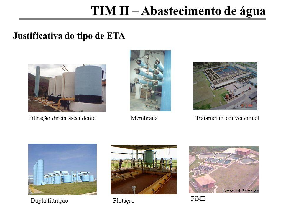 TIM II – Abastecimento de água Justificativa do tipo de ETA Fonte: Di Bernardo Filtração direta ascendenteMembranaTratamento convencional Dupla filtra