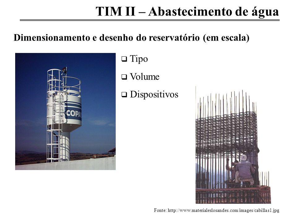 TIM II – Abastecimento de água Dimensionamento e desenho do reservatório (em escala) Fonte: http://www.materialeslosandes.com/images/cabillas1.jpg Tip