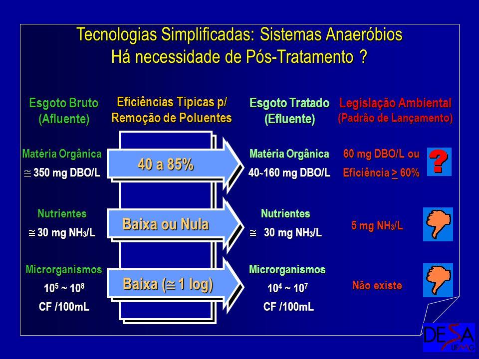 Tecnologias Simplificadas: Sistemas Anaeróbios Há necessidade de Pós-Tratamento ? Esgoto Tratado (Efluente) Eficiências Típicas p/ Remoção de Poluente