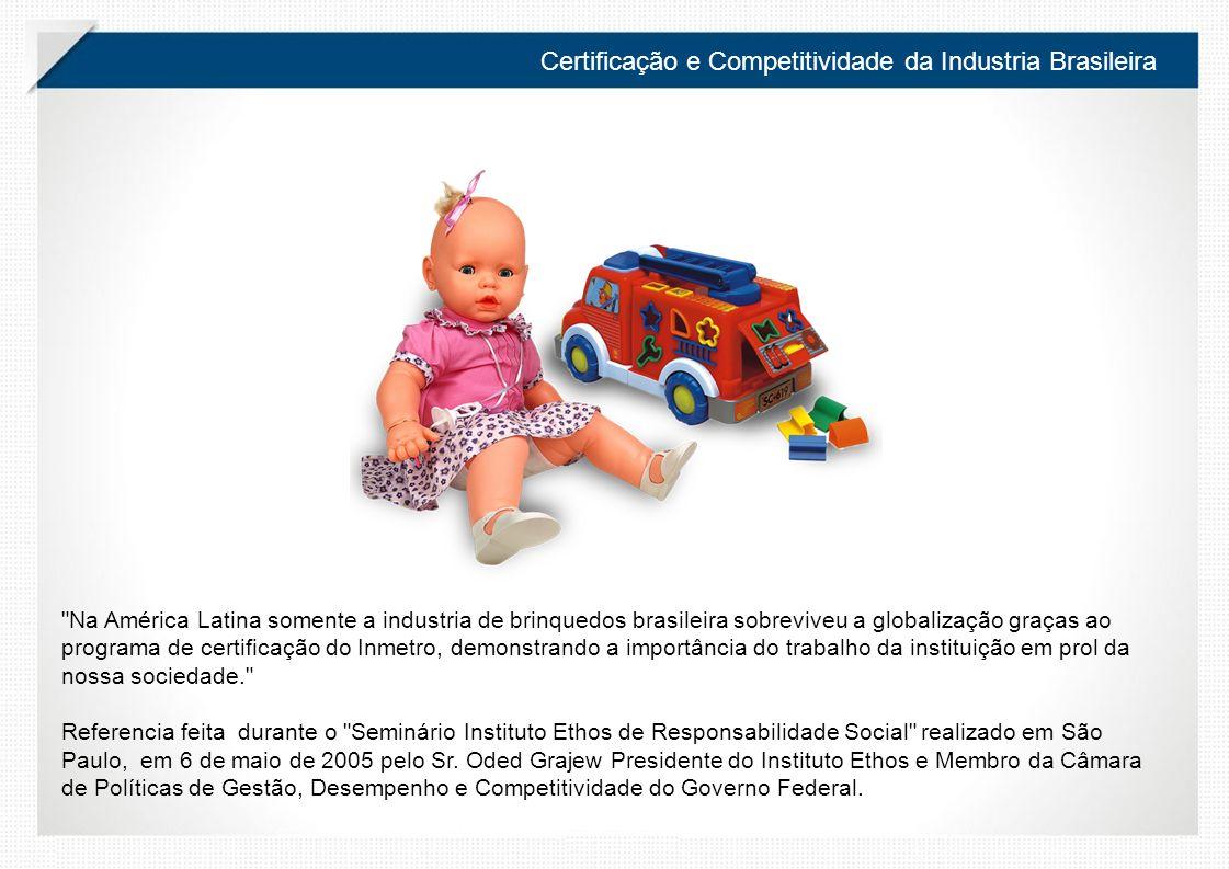 Certificação e Competitividade da Industria Brasileira Na América Latina somente a industria de brinquedos brasileira sobreviveu a globalização graças ao programa de certificação do Inmetro, demonstrando a importância do trabalho da instituição em prol da nossa sociedade. Referencia feita durante o Seminário Instituto Ethos de Responsabilidade Social realizado em São Paulo, em 6 de maio de 2005 pelo Sr.