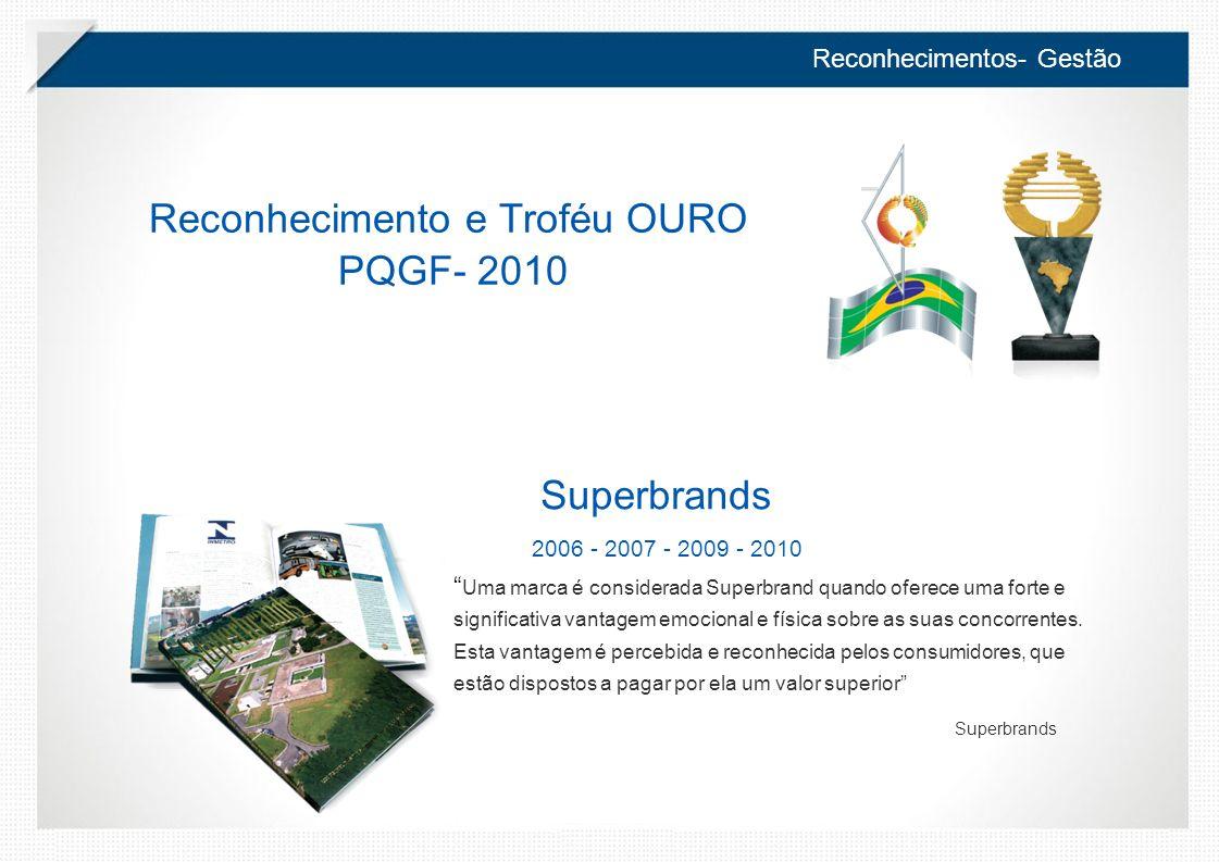 Reconhecimentos- Gestão Superbrands 2006 - 2007 - 2009 - 2010 Uma marca é considerada Superbrand quando oferece uma forte e significativa vantagem emocional e física sobre as suas concorrentes.