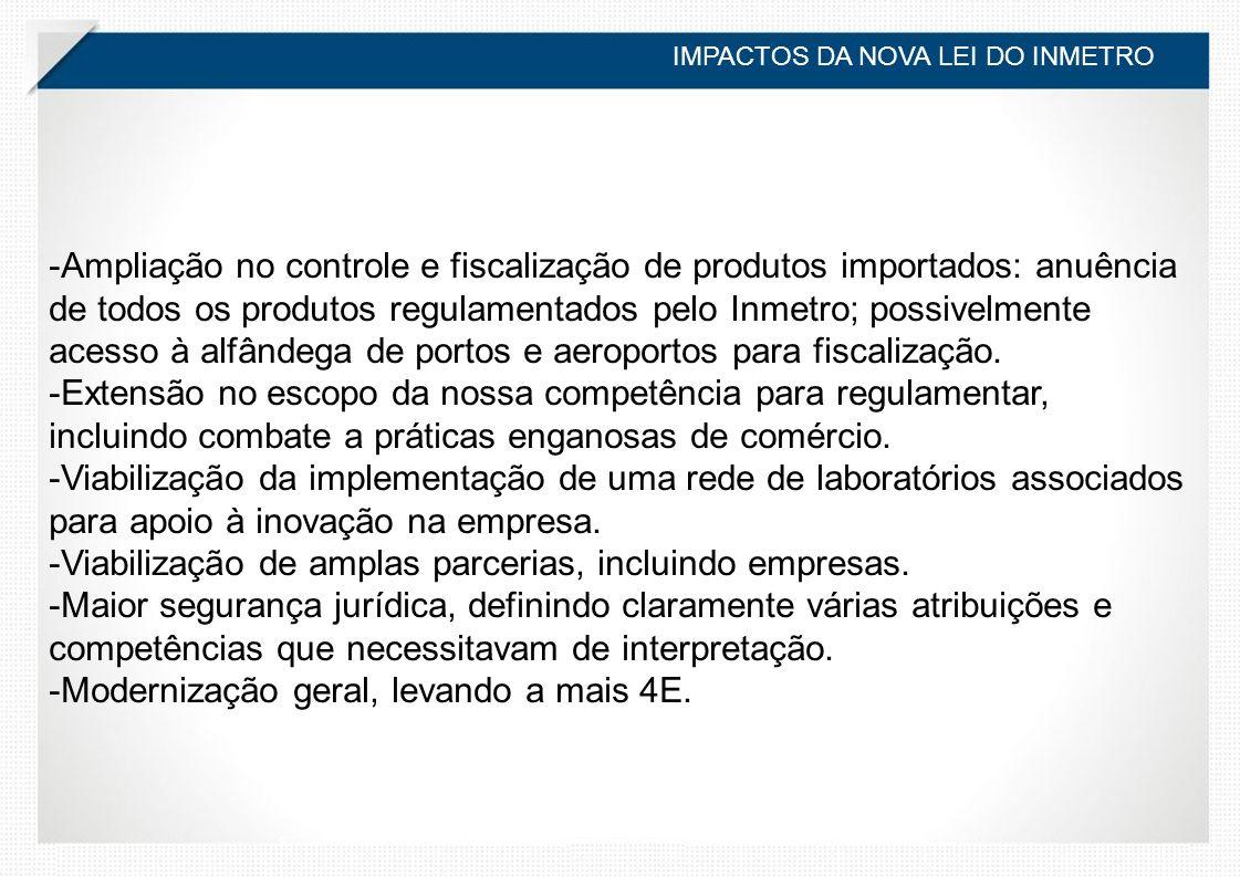 -Ampliação no controle e fiscalização de produtos importados: anuência de todos os produtos regulamentados pelo Inmetro; possivelmente acesso à alfândega de portos e aeroportos para fiscalização.