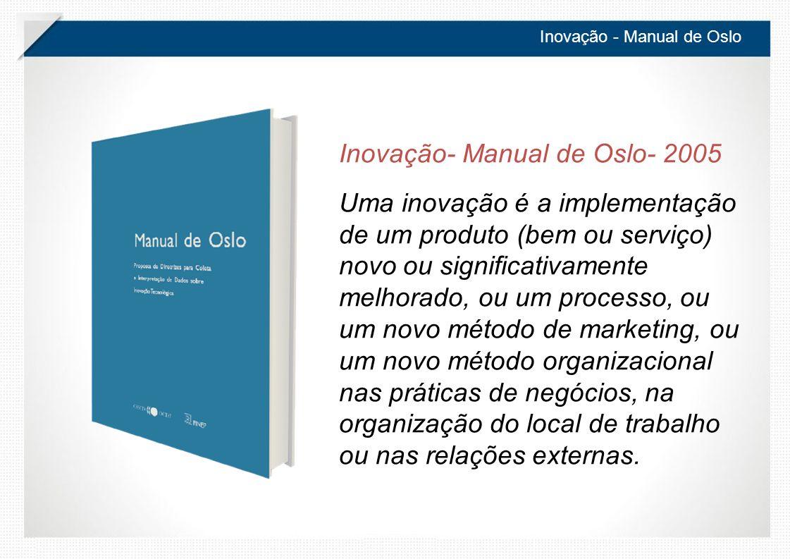 Inovação - Manual de Oslo Inovação- Manual de Oslo- 2005 Uma inovação é a implementação de um produto (bem ou serviço) novo ou significativamente melhorado, ou um processo, ou um novo método de marketing, ou um novo método organizacional nas práticas de negócios, na organização do local de trabalho ou nas relações externas.