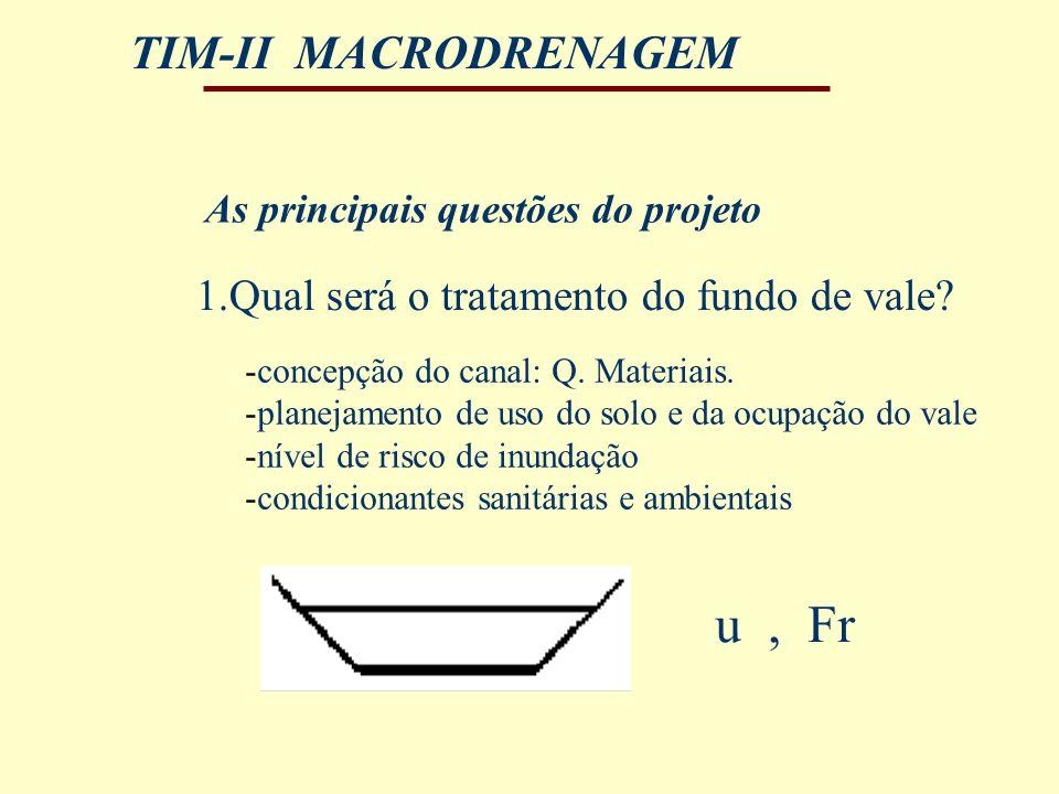 TIM-II MACRODRENAGEM 1.Qual será o tratamento do fundo de vale? As principais questões do projeto u, Fr -concepção do canal: Q. Materiais. -planejamen