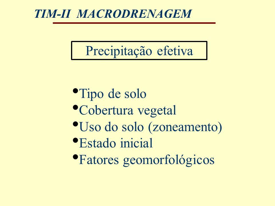 TIM-II MACRODRENAGEM Precipitação efetiva Tipo de solo Cobertura vegetal Uso do solo (zoneamento) Estado inicial Fatores geomorfológicos