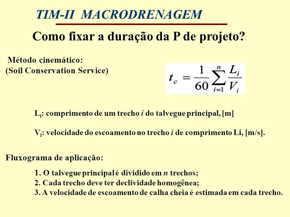 TIM-II MACRODRENAGEM Como fixar a duração da P de projeto? Método cinemático: (Soil Conservation Service) L i : comprimento de um trecho i do talvegue