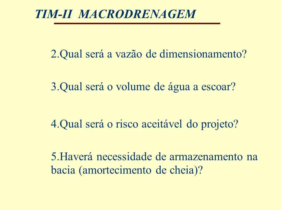 TIM-II MACRODRENAGEM 4.Qual será o risco aceitável do projeto? 5.Haverá necessidade de armazenamento na bacia (amortecimento de cheia)? 2.Qual será a
