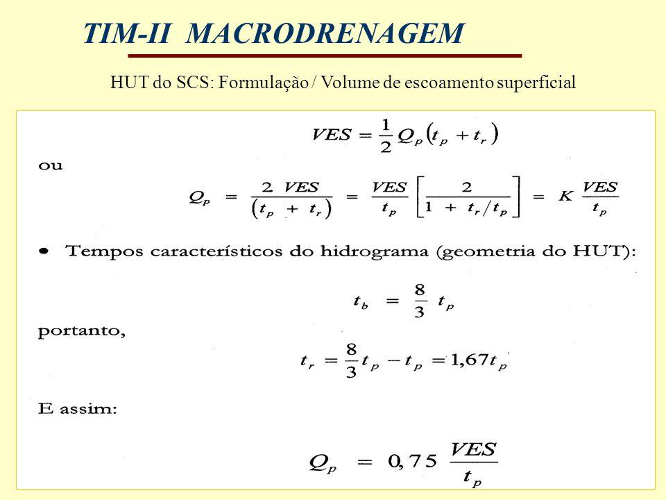 TIM-II MACRODRENAGEM HUT do SCS: Formulação / Volume de escoamento superficial