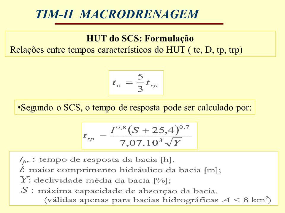 TIM-II MACRODRENAGEM HUT do SCS: Formulação Relações entre tempos característicos do HUT ( tc, D, tp, trp) Segundo o SCS, o tempo de resposta pode ser