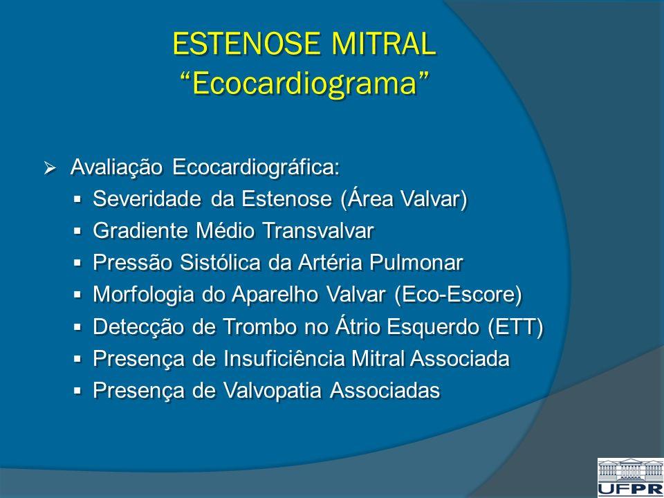 ESTENOSE MITRAL Ecocardiograma Avaliação Ecocardiográfica: Severidade da Estenose (Área Valvar) Gradiente Médio Transvalvar Pressão Sistólica da Artér