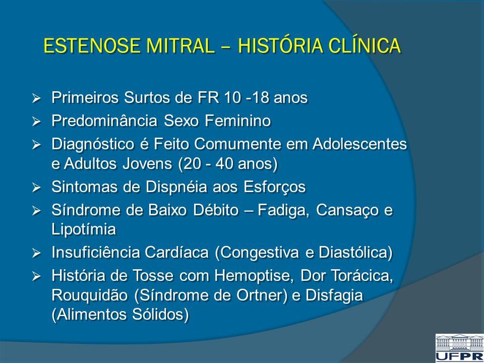 ESTENOSE MITRAL – HISTÓRIA CLÍNICA Primeiros Surtos de FR 10 -18 anos Predominância Sexo Feminino Diagnóstico é Feito Comumente em Adolescentes e Adul