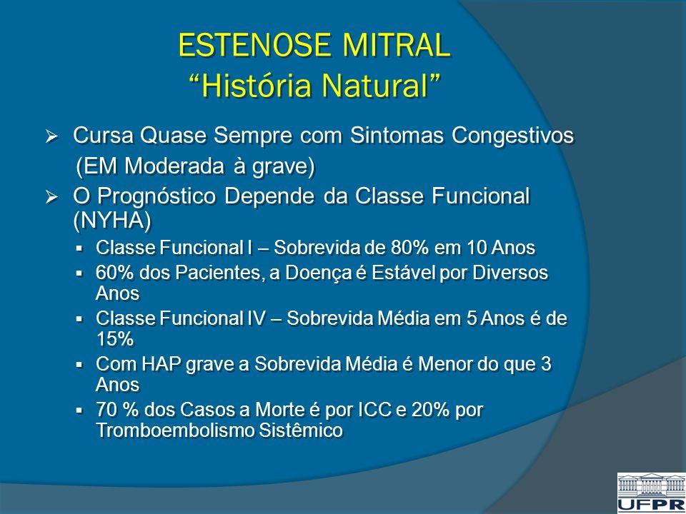 ESTENOSE MITRAL História Natural Cursa Quase Sempre com Sintomas Congestivos (EM Moderada à grave) O Prognóstico Depende da Classe Funcional (NYHA) Cl