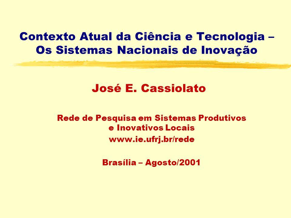 Contexto Atual da Ciência e Tecnologia – Os Sistemas Nacionais de Inovação José E.