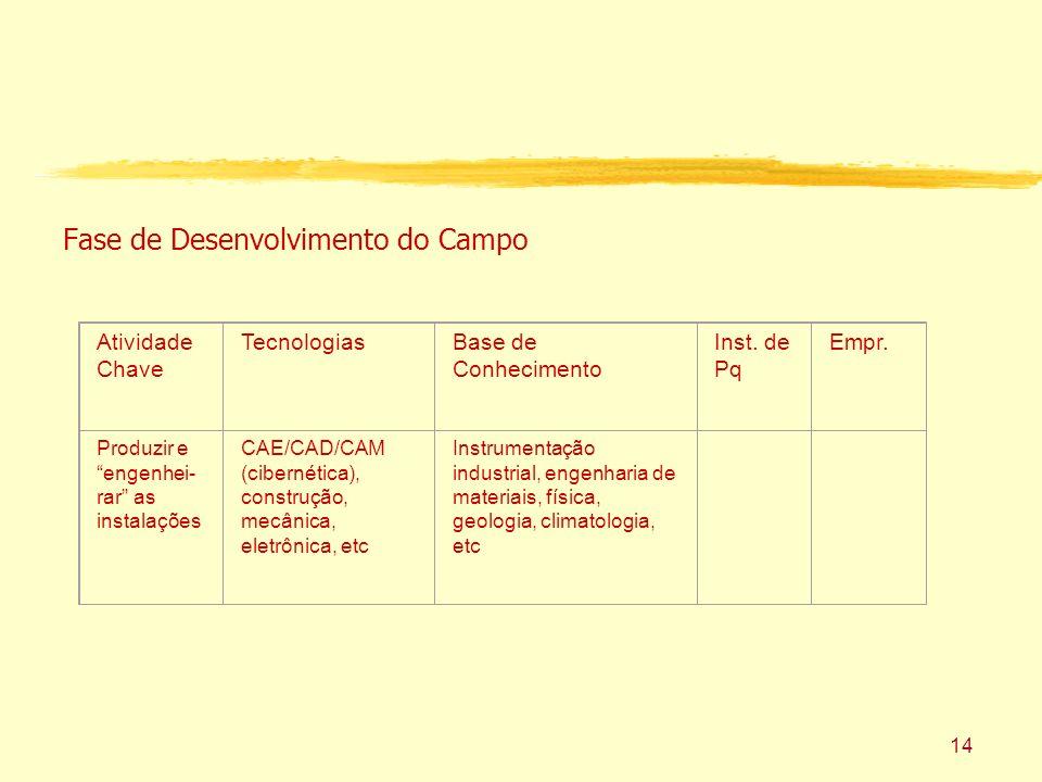 14 Fase de Desenvolvimento do Campo Atividade Chave TecnologiasBase de Conhecimento Inst.