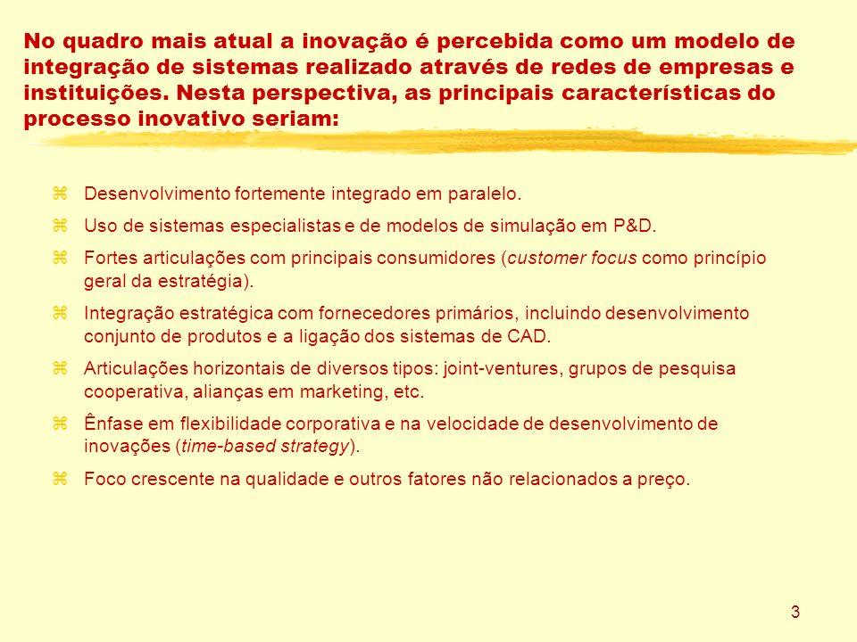 3 No quadro mais atual a inovação é percebida como um modelo de integração de sistemas realizado através de redes de empresas e instituições.