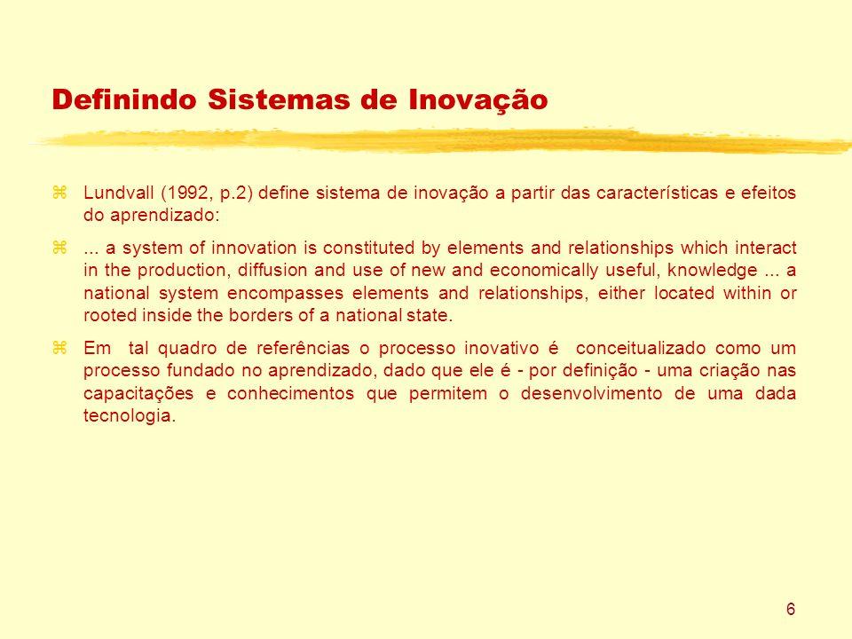 6 Definindo Sistemas de Inovação zLundvall (1992, p.2) define sistema de inovação a partir das características e efeitos do aprendizado: z...