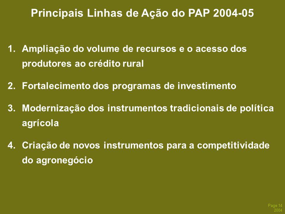 Page 14 2004 1.Ampliação do volume de recursos e o acesso dos produtores ao crédito rural 2.Fortalecimento dos programas de investimento 3.Modernizaçã