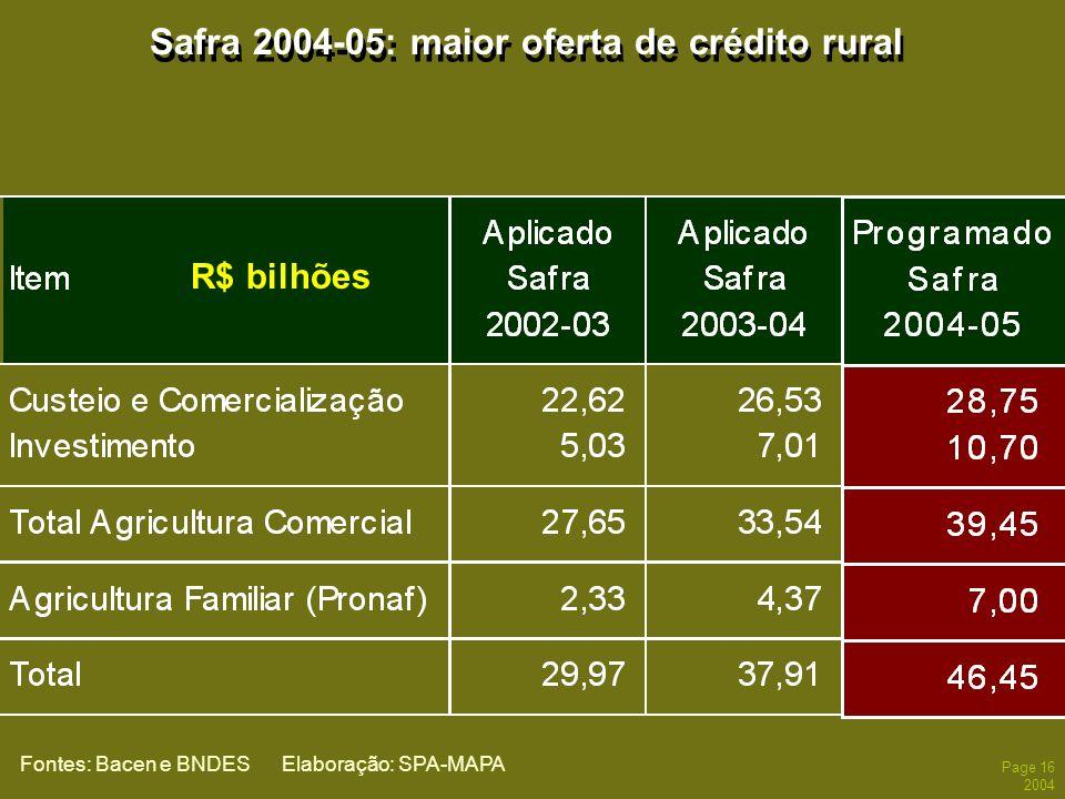 Page 16 2004 Safra 2004-05: maior oferta de crédito rural Fontes: Bacen e BNDES Elaboração: SPA-MAPA R$ bilhões