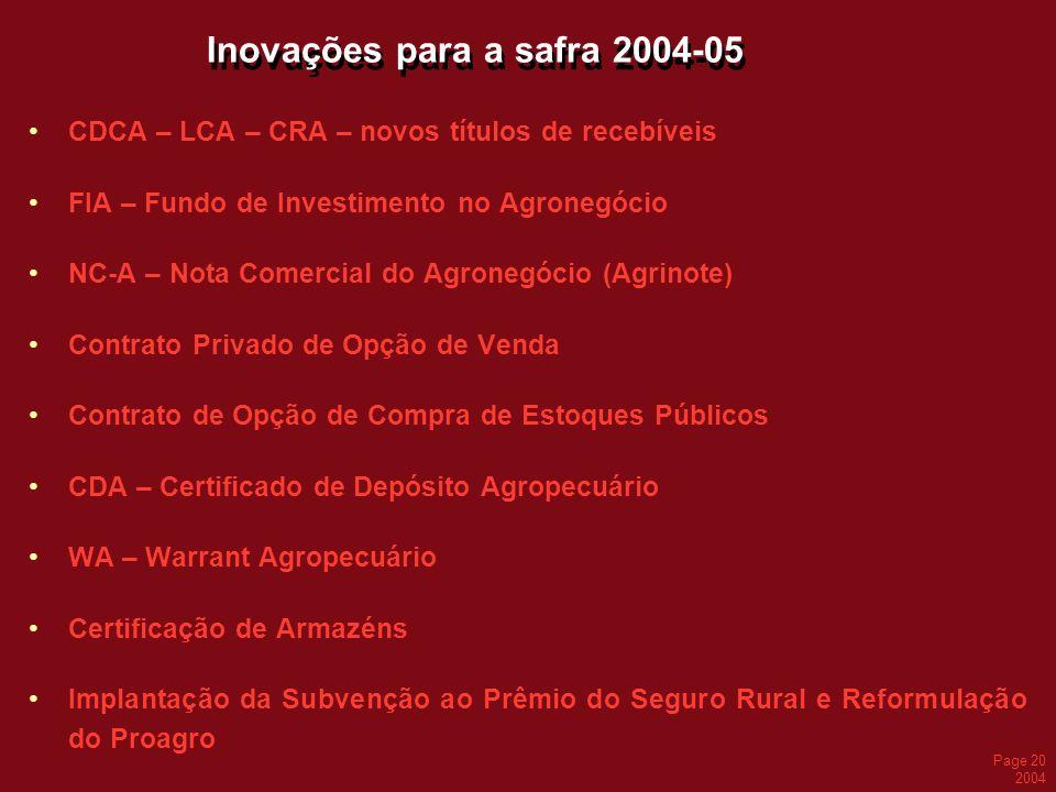 Page 20 2004 Inovações para a safra 2004-05 CDCA – LCA – CRA – novos títulos de recebíveis FIA – Fundo de Investimento no Agronegócio NC-A – Nota Come
