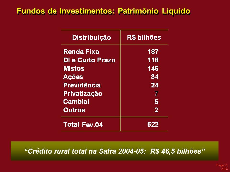 Page 21 2004 Fundos de Investimentos: Patrimônio Líquido Crédito rural total na Safra 2004-05: R$ 46,5 bilhões