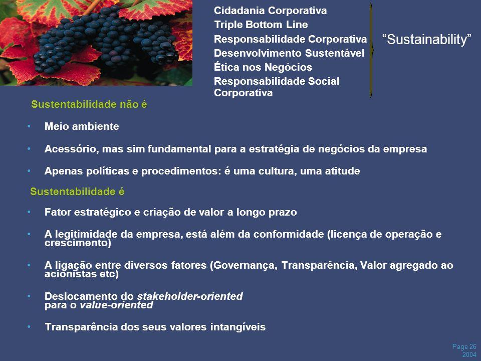 Page 26 2004 Sustentabilidade não é Meio ambiente Acessório, mas sim fundamental para a estratégia de negócios da empresa Apenas políticas e procedime