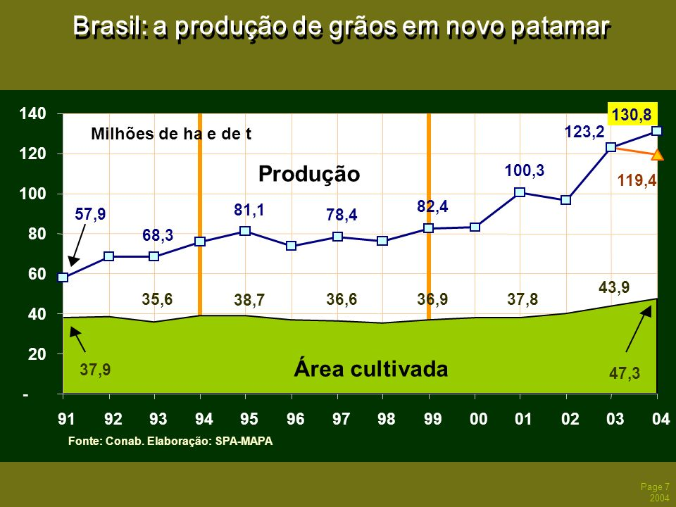 Page 8 2004 Brasil: Valor Bruto da Produção Agropecuária Fonte: CNA/Decon.