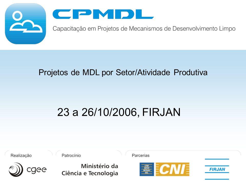 Projetos de MDL por Setor/Atividade Produtiva 23 a 26/10/2006, FIRJAN