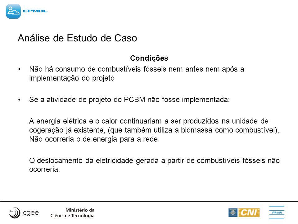 Análise de Estudo de Caso Condições Não há consumo de combustíveis fósseis nem antes nem após a implementação do projeto Se a atividade de projeto do