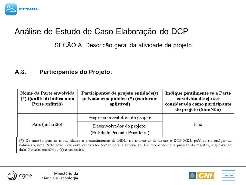 Análise de Estudo de Caso Elaboração do DCP SEÇÃO A. Descrição geral da atividade de projeto A.3. Participantes do Projeto: