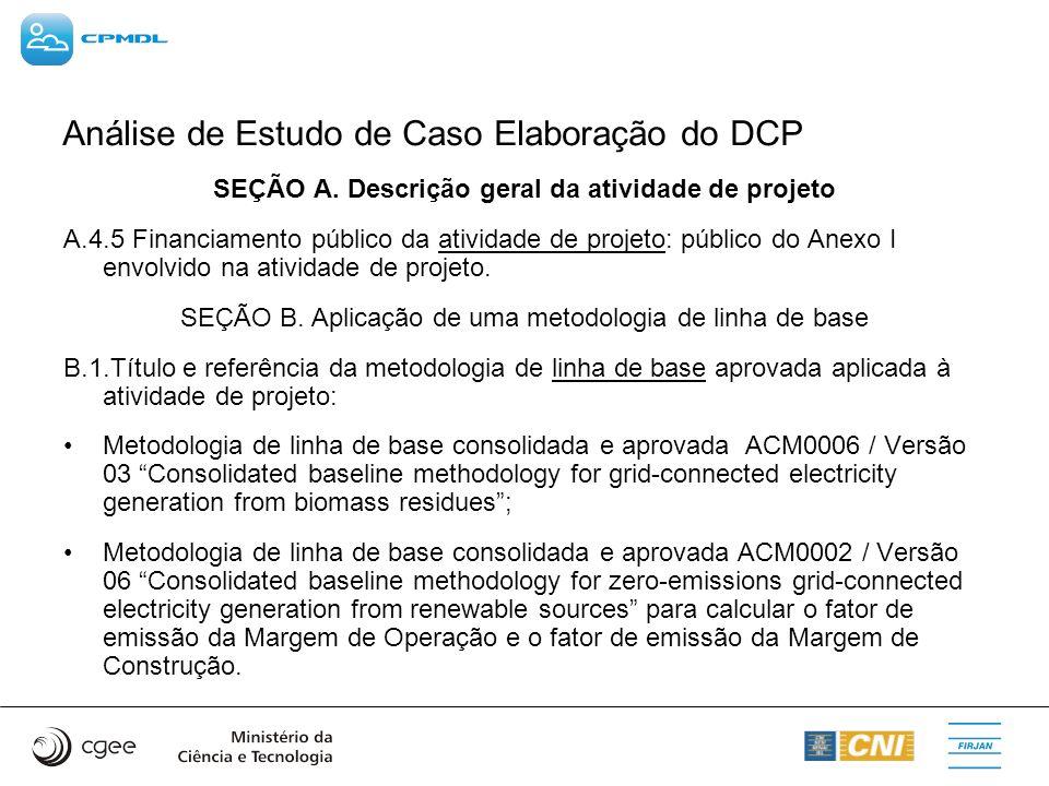 Análise de Estudo de Caso Elaboração do DCP SEÇÃO A. Descrição geral da atividade de projeto A.4.5 Financiamento público da atividade de projeto: públ