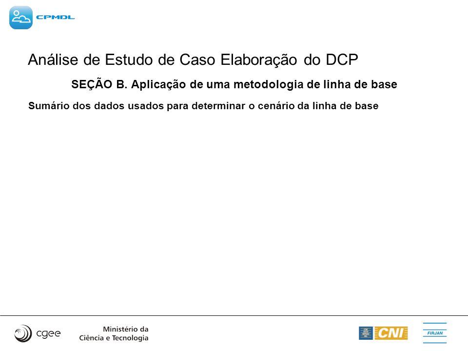 Análise de Estudo de Caso Elaboração do DCP SEÇÃO B. Aplicação de uma metodologia de linha de base Sumário dos dados usados para determinar o cenário