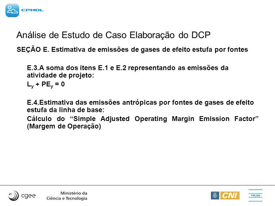Análise de Estudo de Caso Elaboração do DCP SEÇÃO E. Estimativa de emissões de gases de efeito estufa por fontes E.3.A soma dos itens E.1 e E.2 repres
