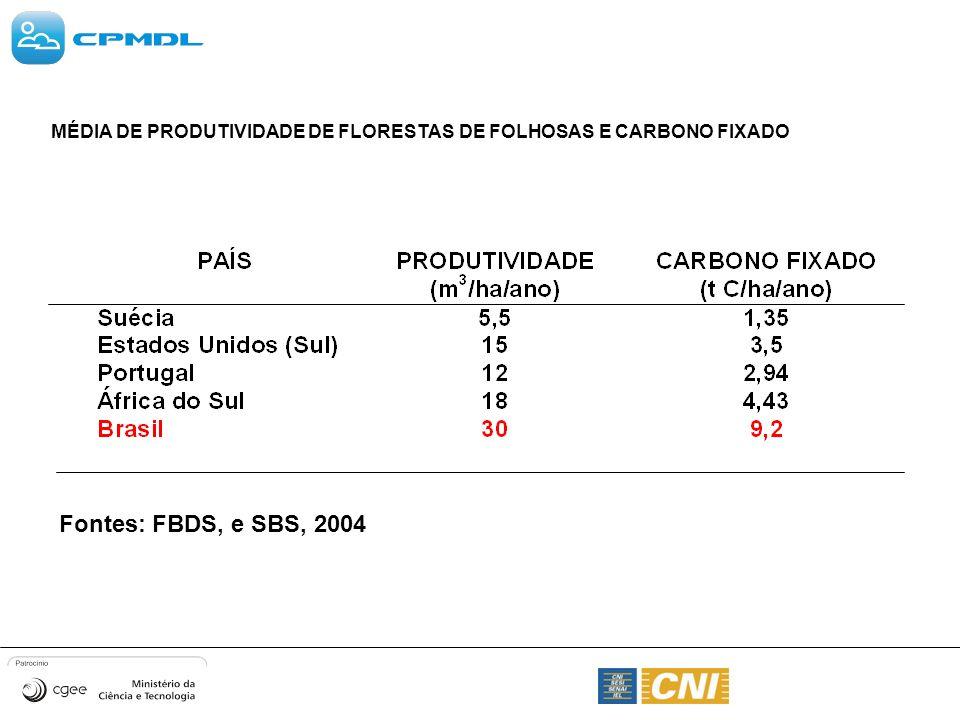 MÉDIA DE PRODUTIVIDADE DE FLORESTAS DE FOLHOSAS E CARBONO FIXADO Fontes: FBDS, e SBS, 2004