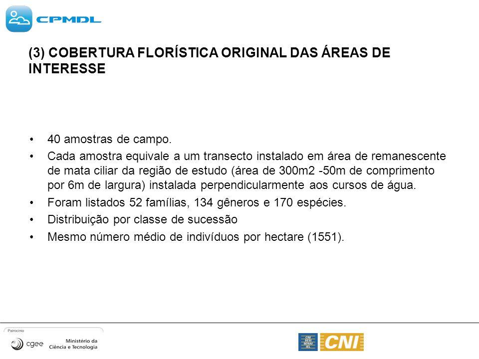 (3) COBERTURA FLORÍSTICA ORIGINAL DAS ÁREAS DE INTERESSE 40 amostras de campo. Cada amostra equivale a um transecto instalado em área de remanescente