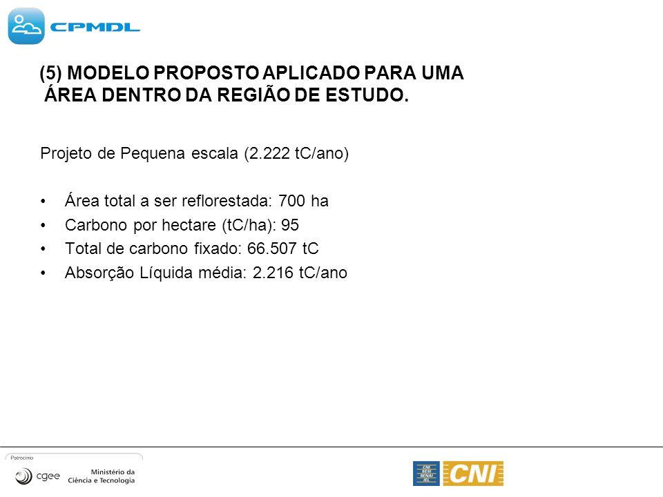 (5) MODELO PROPOSTO APLICADO PARA UMA ÁREA DENTRO DA REGIÃO DE ESTUDO. Projeto de Pequena escala (2.222 tC/ano) Área total a ser reflorestada: 700 ha