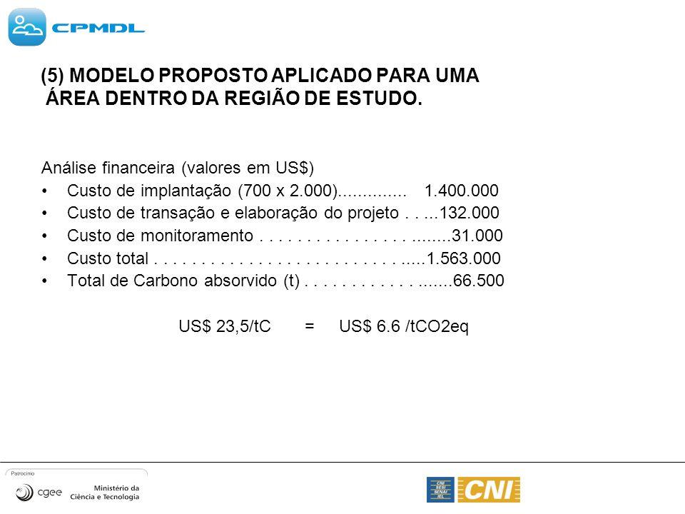 (5) MODELO PROPOSTO APLICADO PARA UMA ÁREA DENTRO DA REGIÃO DE ESTUDO. Análise financeira (valores em US$) Custo de implantação (700 x 2.000).........