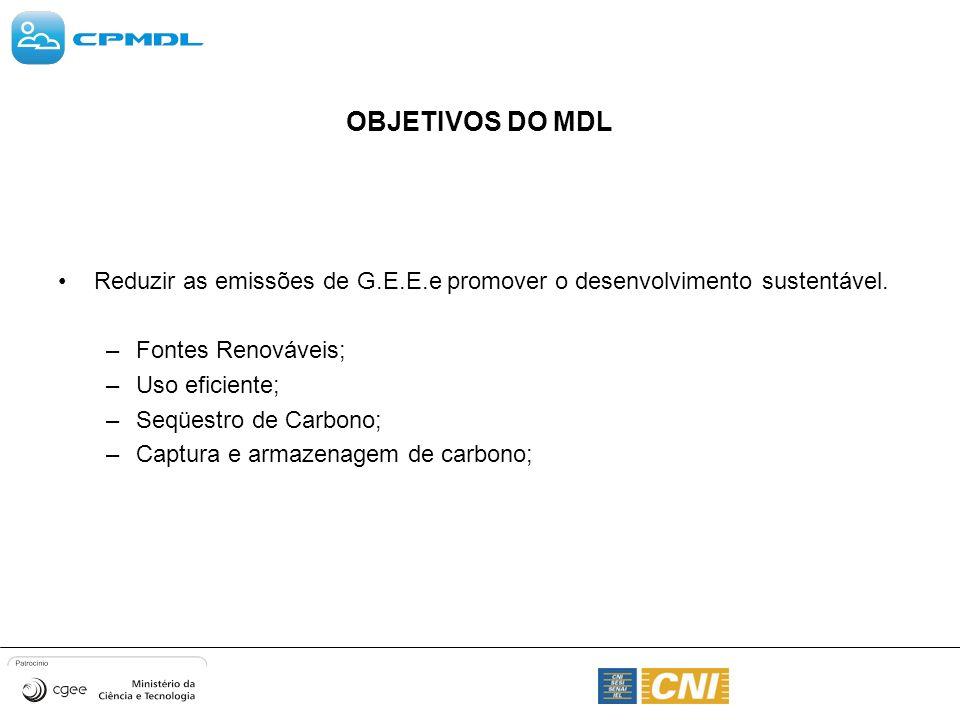 OBJETIVOS DO MDL Reduzir as emissões de G.E.E.e promover o desenvolvimento sustentável. –Fontes Renováveis; –Uso eficiente; –Seqüestro de Carbono; –Ca