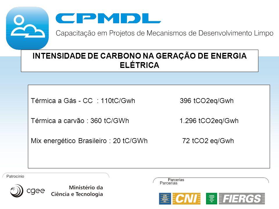INTENSIDADE DE CARBONO NA GERAÇÃO DE ENERGIA ELÉTRICA Térmica a Gás - CC : 110tC/Gwh 396 tCO2eq/Gwh Térmica a carvão : 360 tC/GWh 1.296 tCO2eq/Gwh Mix