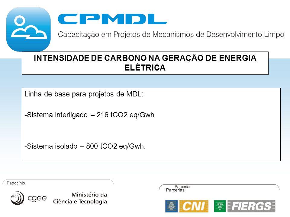 INTENSIDADE DE CARBONO NA GERAÇÃO DE ENERGIA ELÉTRICA Linha de base para projetos de MDL: -Sistema interligado – 216 tCO2 eq/Gwh -Sistema isolado – 80