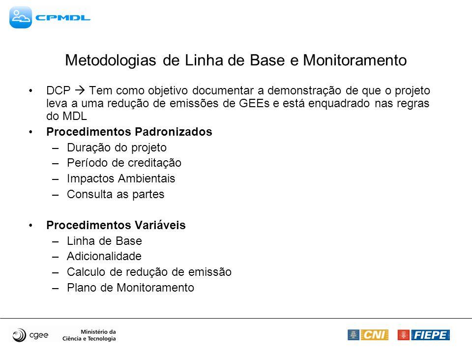 Metodologias de Linha de Base e Monitoramento DCP Tem como objetivo documentar a demonstração de que o projeto leva a uma redução de emissões de GEEs