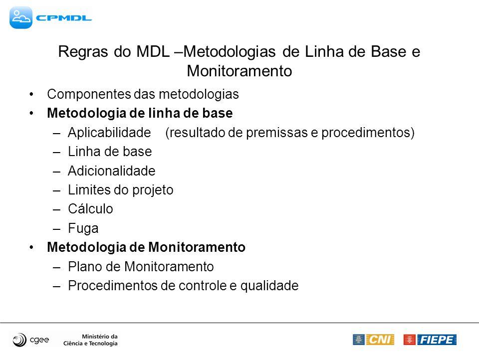 Regras do MDL –Metodologias de Linha de Base e Monitoramento Componentes das metodologias Metodologia de linha de base –Aplicabilidade (resultado de premissas e procedimentos) –Linha de base –Adicionalidade –Limites do projeto –Cálculo –Fuga Metodologia de Monitoramento –Plano de Monitoramento –Procedimentos de controle e qualidade