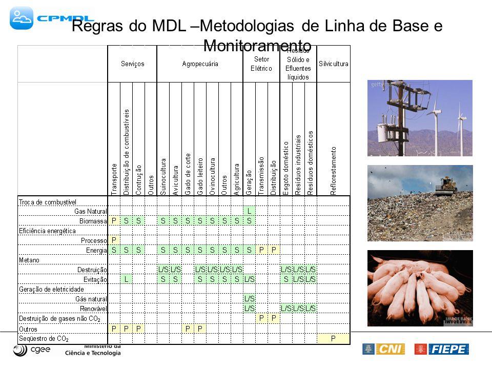 Metodologias Propostas Regras do MDL –Metodologias de Linha de Base e Monitoramento