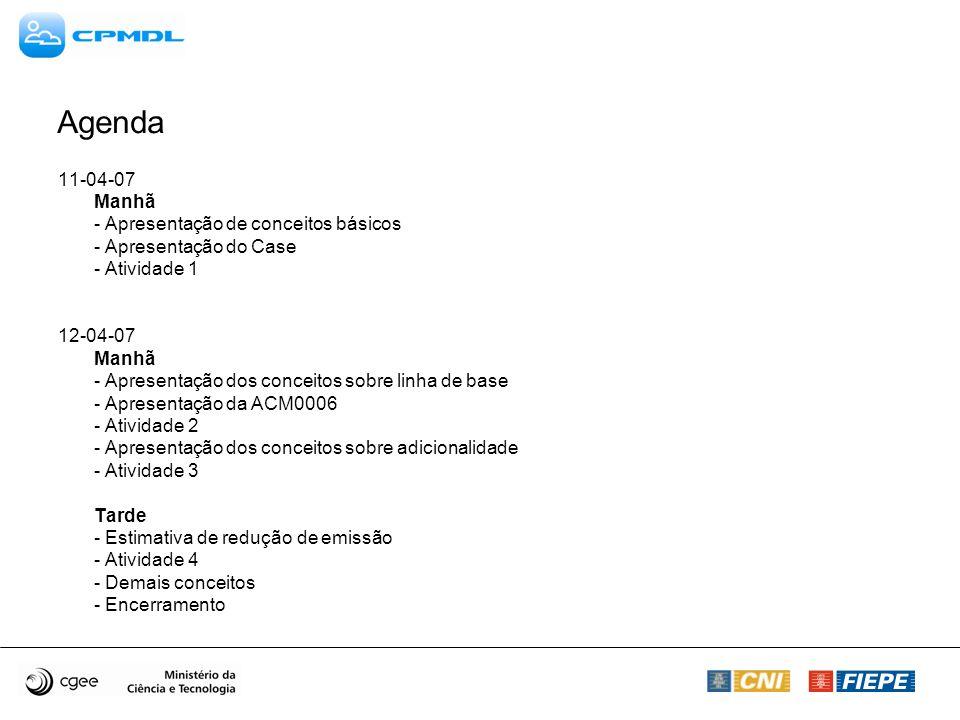 Agenda 11-04-07 Manhã - Apresentação de conceitos básicos - Apresentação do Case - Atividade 1 12-04-07 Manhã - Apresentação dos conceitos sobre linha