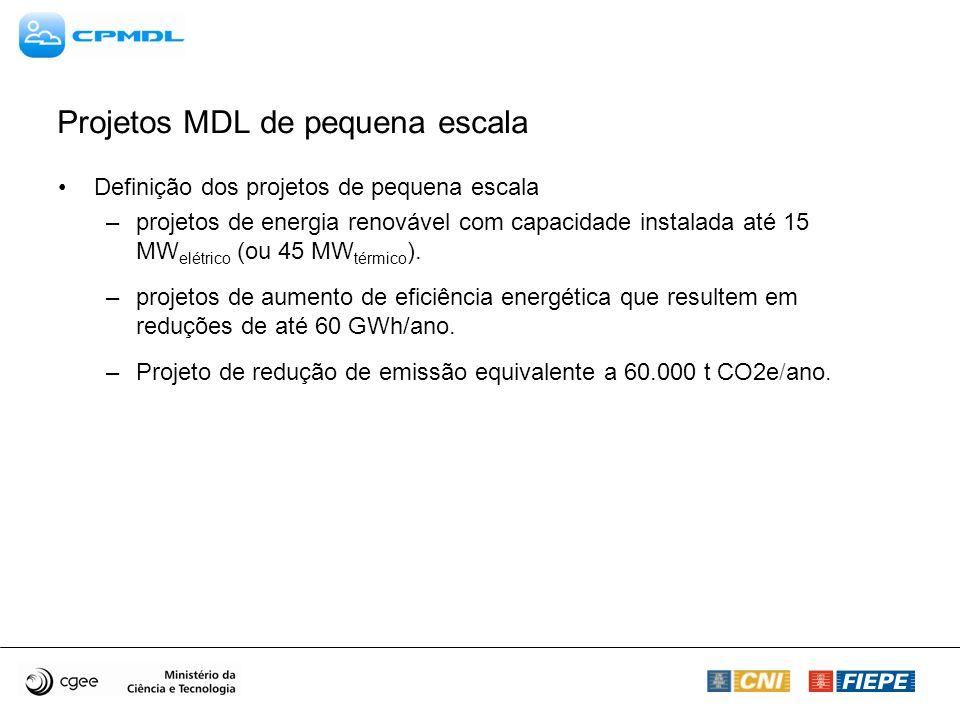 Projetos MDL de pequena escala Definição dos projetos de pequena escala –projetos de energia renovável com capacidade instalada até 15 MW elétrico (ou 45 MW térmico ).